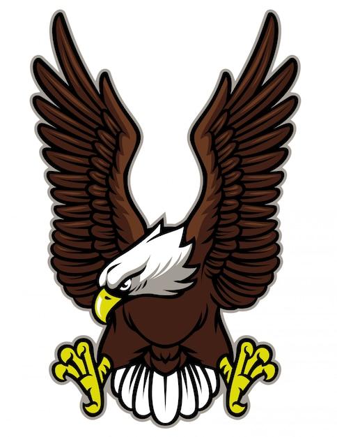 Adler mit ausgebreitetem flügel Premium Vektoren
