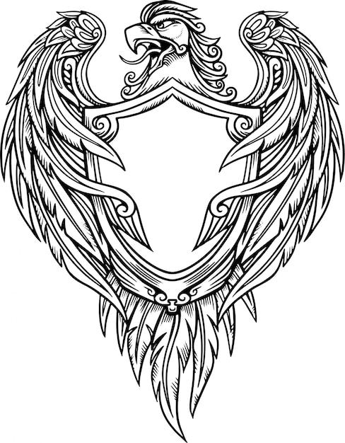 Adler schild vektor-illustration Premium Vektoren