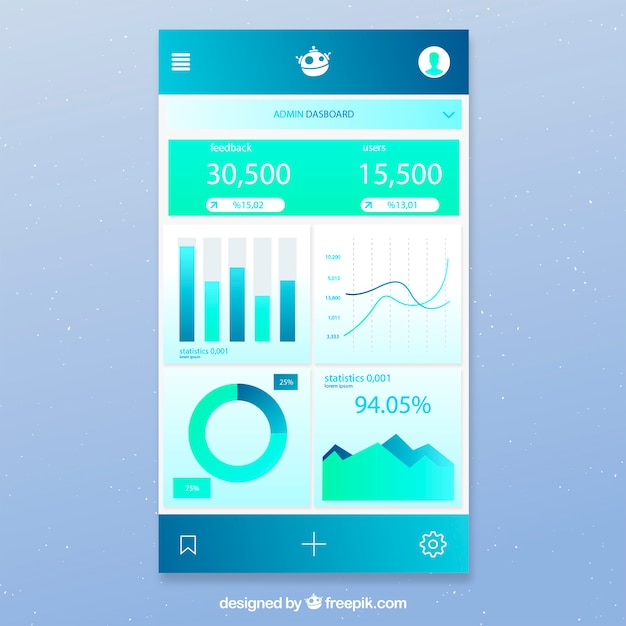 Admin-app-dashboard-vorlage mit flaches design Kostenlosen Vektoren
