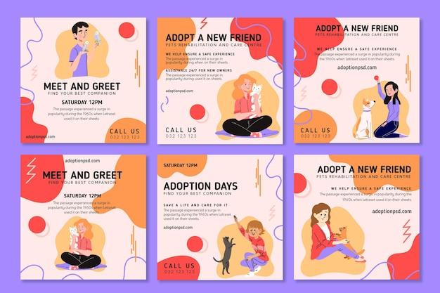 Adoptiere ein haustier instagram beiträge Kostenlosen Vektoren