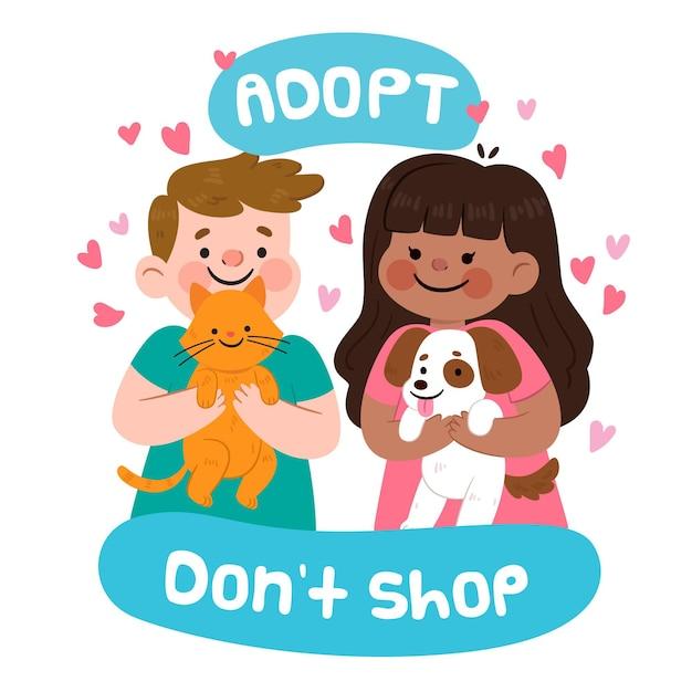 Adoptiere ein haustier mit katze und hund Kostenlosen Vektoren