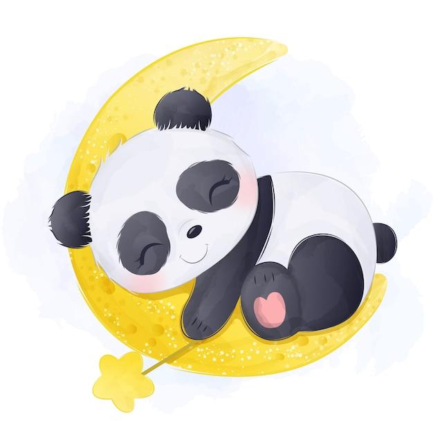 Adorable baby panda schlafendes aquarell Premium Vektoren
