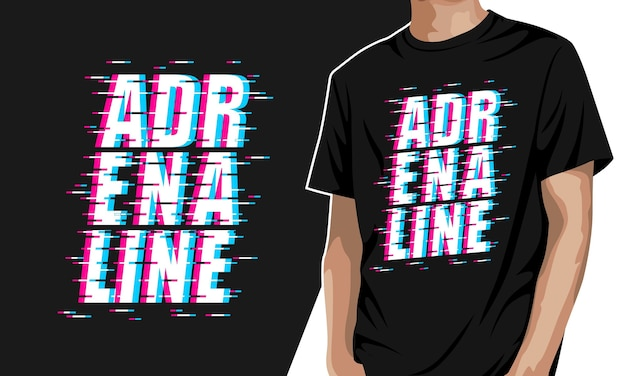 Adrenalin - grafisches t-shirt Premium Vektoren