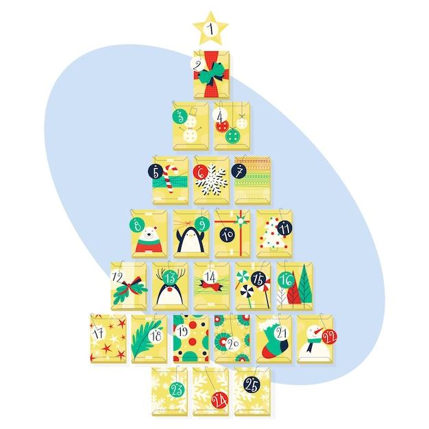 Adventskalender für weihnachten Kostenlosen Vektoren