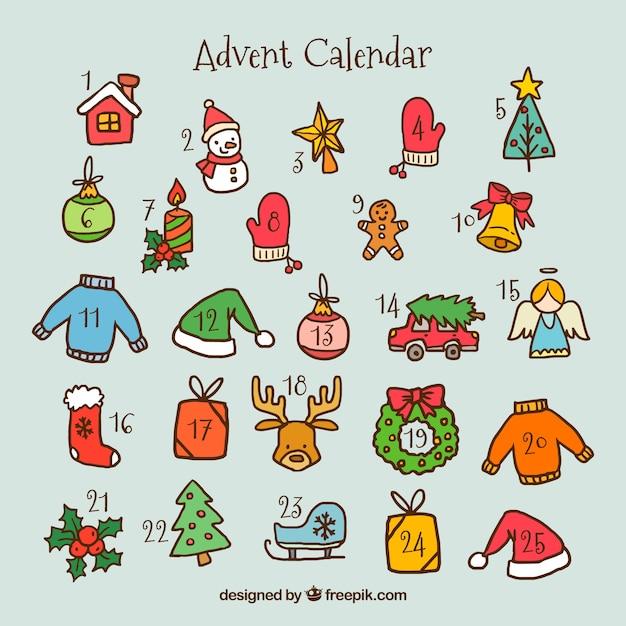 Adventskalender mit hand gezeichneten weihnachtselementen Kostenlosen Vektoren