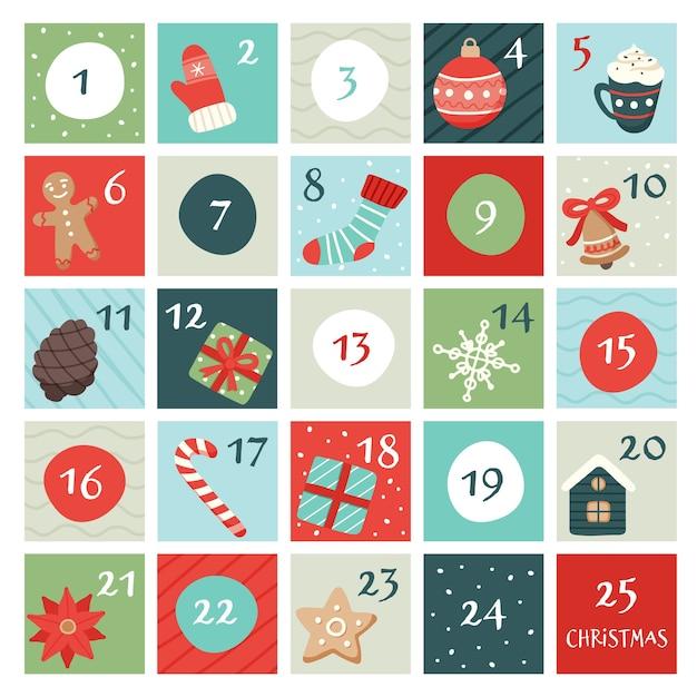 Adventskalender mit weihnachtselementen. Premium Vektoren