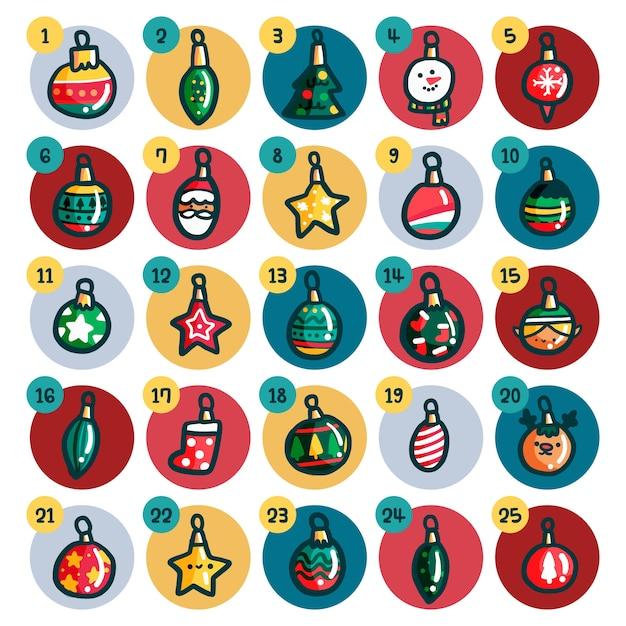 Adventskalender mit weihnachtskugeln Premium Vektoren