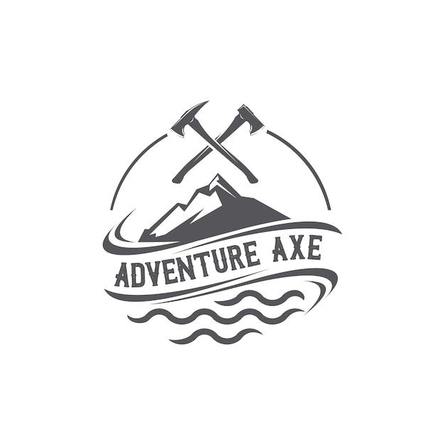 Adventure axe logo Premium Vektoren