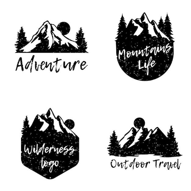Adventure mountain abzeichen logo set Premium Vektoren