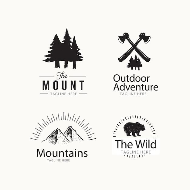 Adventure outdoor logo design-konzept Premium Vektoren