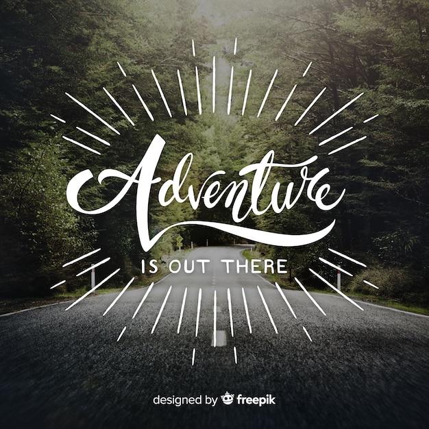 Adventure schriftzug mit foto Kostenlosen Vektoren