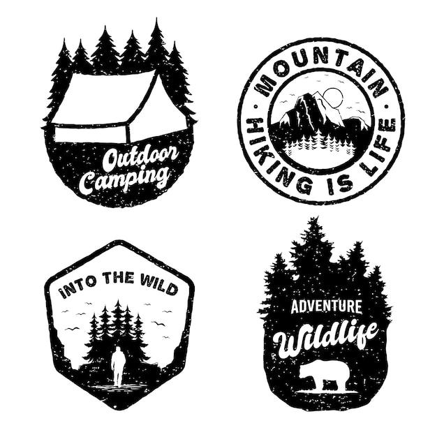 Adventure vintage abzeichen logo set Premium Vektoren