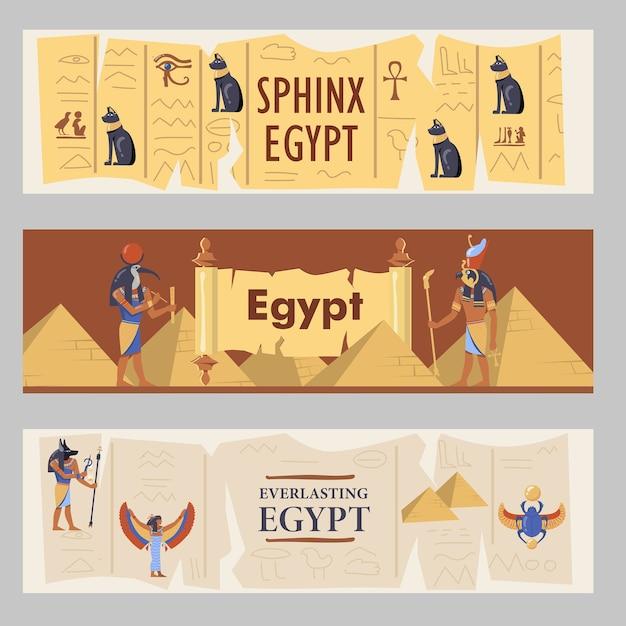Ägypten banner gesetzt. ägyptische pyramiden, katzen und götter vektorillustrationen mit text. vorlagen für reiseflyer oder broschüren Kostenlosen Vektoren