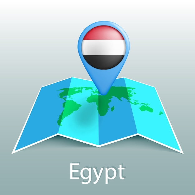 Ägypten flagge weltkarte in pin mit namen des landes auf grauem hintergrund Premium Vektoren