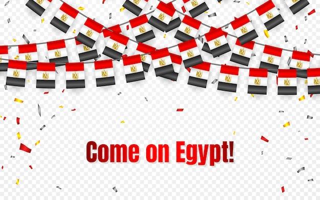 Ägypten girlandenflagge mit konfetti auf transparentem hintergrund, hängende ammer für feierschablonenfahne, Premium Vektoren