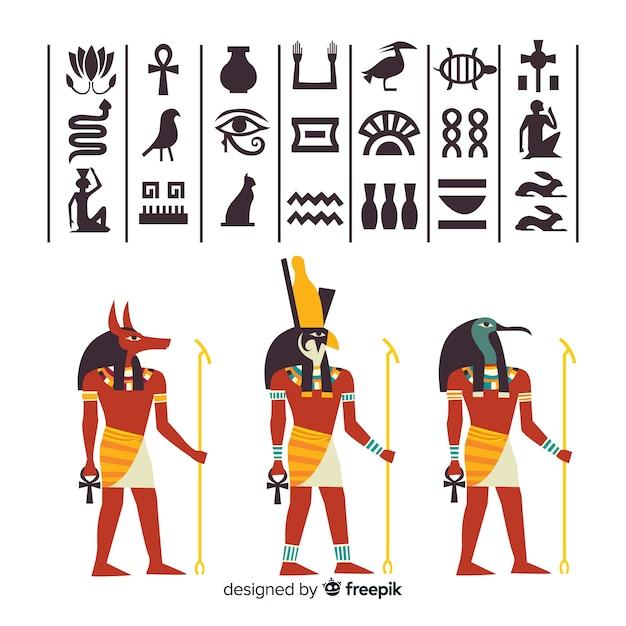 Ägypten-hieroglyphen und götter-elementsammlung Kostenlosen Vektoren
