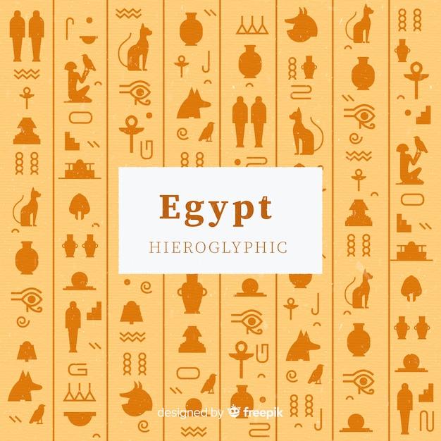 Ägypten-hieroglyphenhintergrund im flachen design Kostenlosen Vektoren
