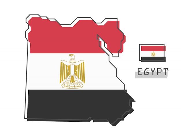 Ägypten karte und flagge Premium Vektoren