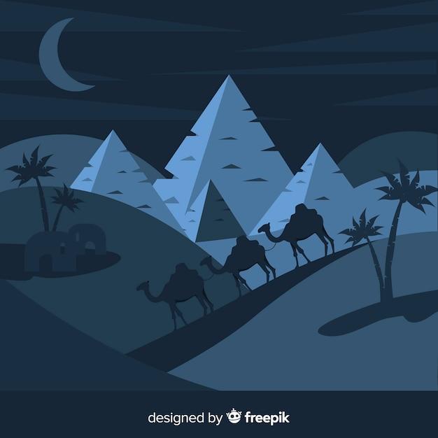 Ägypten-landschaftshintergrund mit kamelen und piramiden Kostenlosen Vektoren