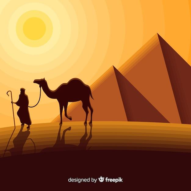 Ägypten-landschaftskonzept mit pyramiden und wohnwagen Kostenlosen Vektoren