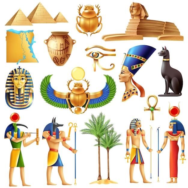 Ägypten-symbolsatz Kostenlosen Vektoren