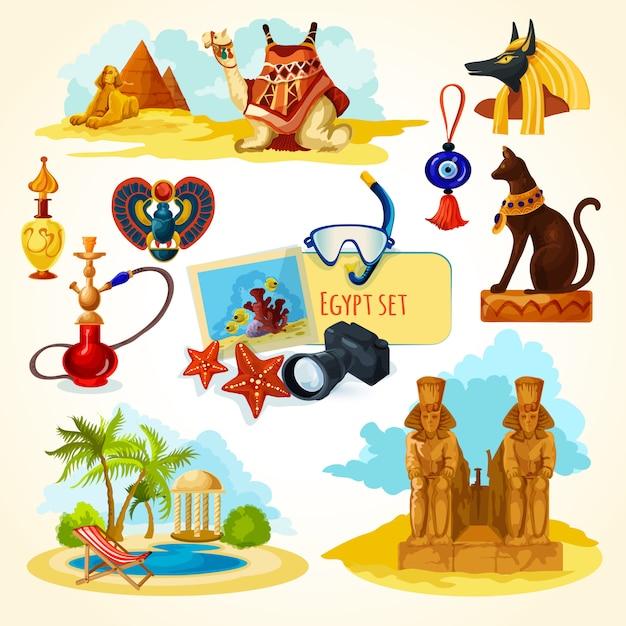 Ägypten touristisches set Kostenlosen Vektoren