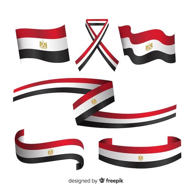 Ägyptische flaggensammlung mit flachem design Kostenlosen Vektoren
