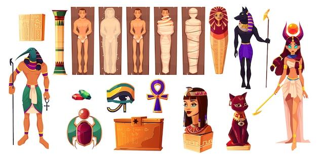 Ägyptische götter thoth und hathor. alte attribute von kultur und religion gesetzt. Kostenlosen Vektoren