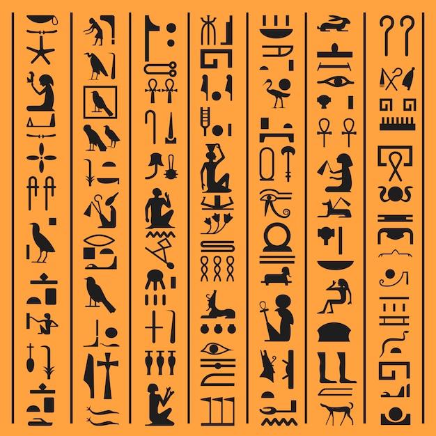 Ägyptische hieroglyphen oder altes ägypten beschriftet papyrushintergrund. vector alte ägyptische hieroglyphenschreibensymbole und ikonen von göttern, von tieren und von vögeln oder von pharaomanuskriptdesigndekoration Premium Vektoren