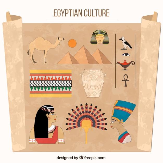 Ägyptische kultur zeichnungen Kostenlosen Vektoren