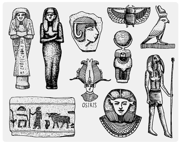 Ägyptische symbole, pharaon, scorob, hieroglyphen und osiris kopf, gott vintage Premium Vektoren