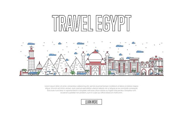 Ägyptische tourismus-website im linearen stil Premium Vektoren