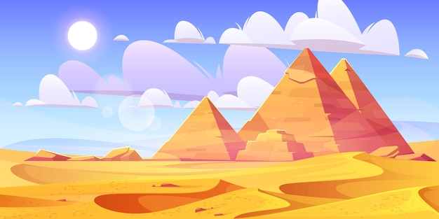 Ägyptische wüste mit alten pyramiden Kostenlosen Vektoren