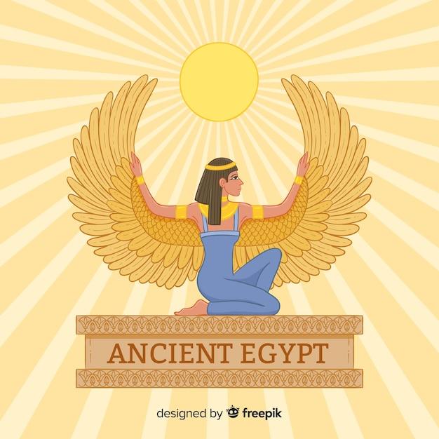 Ägyptischer göttinhintergrund im flachen design Kostenlosen Vektoren