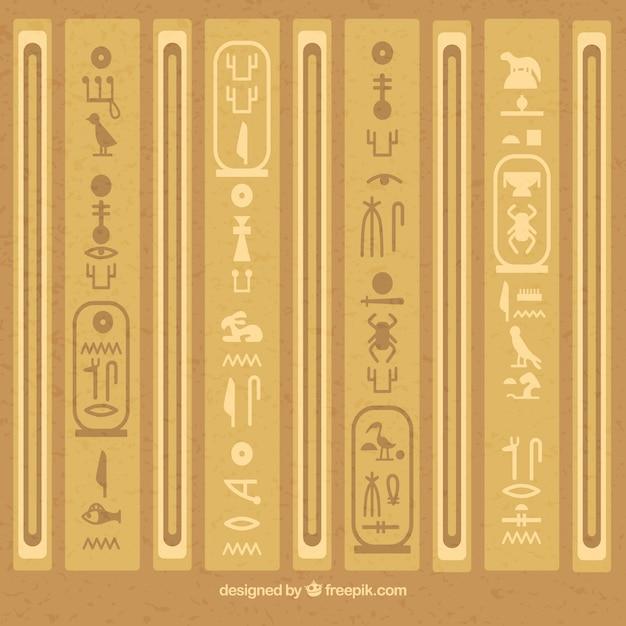 Ägyptischer hieroglyphenhintergrund mit flachem design Kostenlosen Vektoren