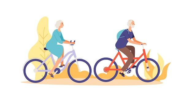 Ältere charaktere, die fahrrad fahren Premium Vektoren