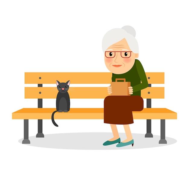 Ältere frau und katze, die auf parkbank sitzt Premium Vektoren