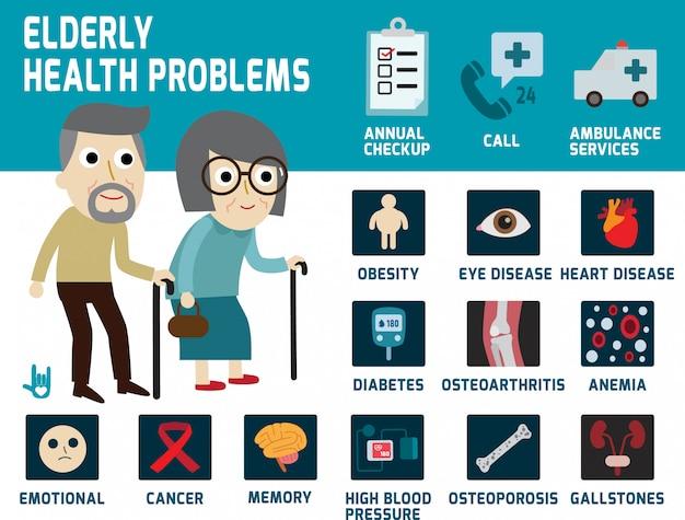 Ältere gesundheitsprobleme infografiken vektor-illustration Premium Vektoren