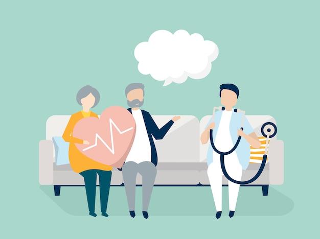 Ältere leute, die eine überprüfung an einem krankenhaus erhalten Kostenlosen Vektoren