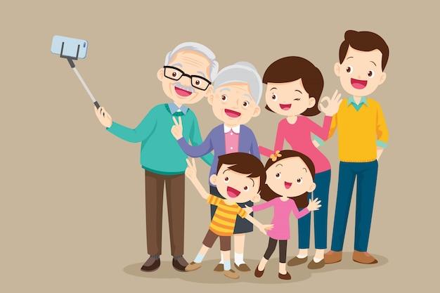 Ältere machen selfie foto mit der familie Premium Vektoren