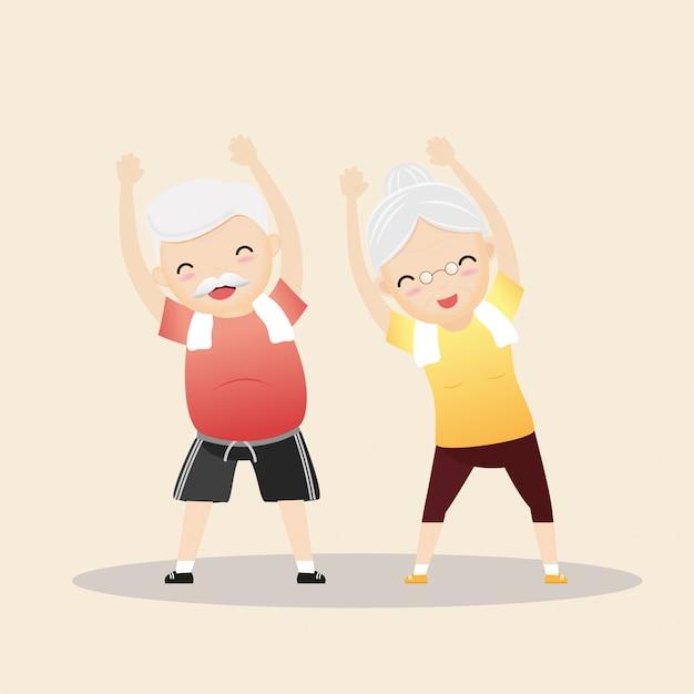 Ältere menschen, die illustration ausüben Premium Vektoren