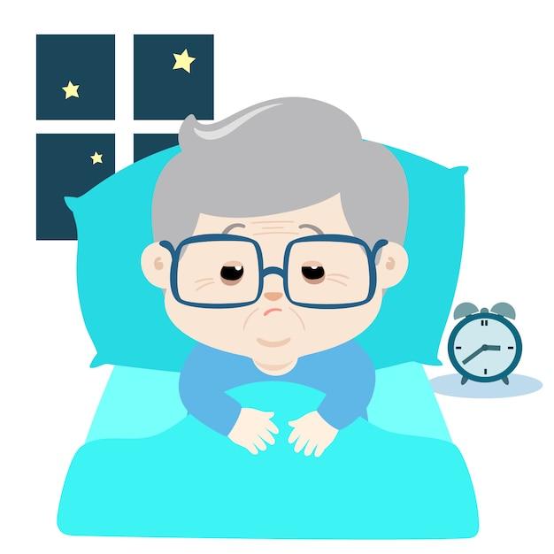 Ältere zeichentrickfigur leiden unter schlaflosigkeit. Premium Vektoren