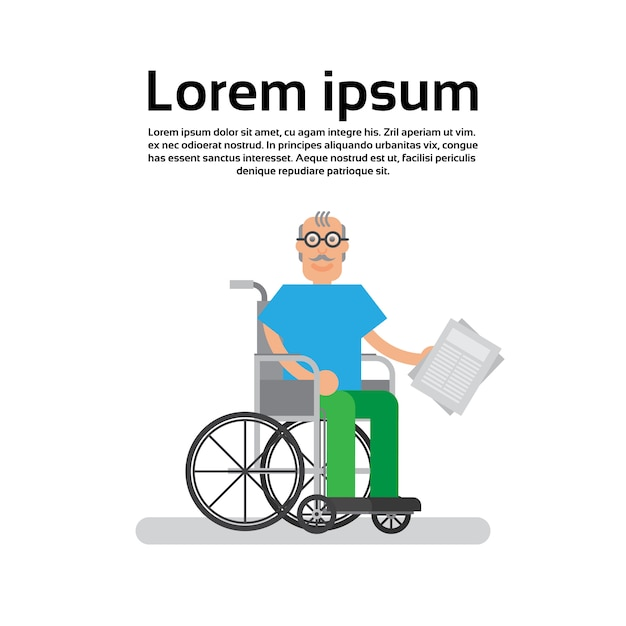 Älterer mann auf rad-stuhl-großvater Premium Vektoren