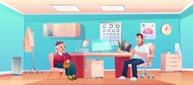 Älterer patient im doktortherapeutbüro Kostenlosen Vektoren