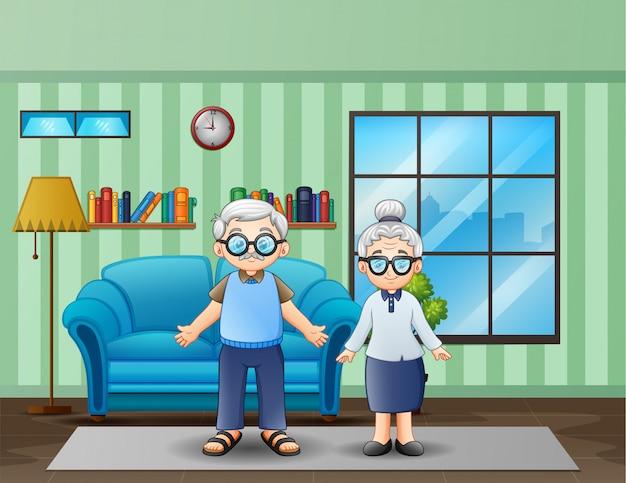 Älteres ehepaar im wohnzimmer Premium Vektoren