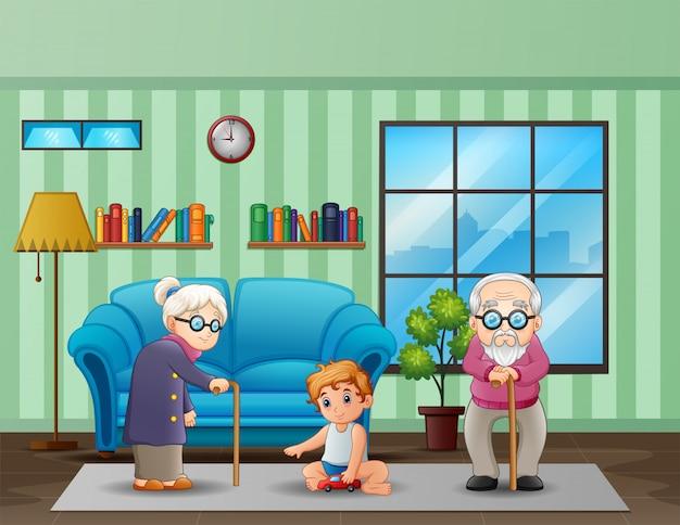Älteres ehepaar mit kindern im wohnzimmer Premium Vektoren