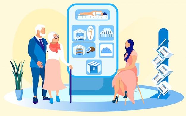 Älteres ehepaar und verkäuferin in matratze store Premium Vektoren