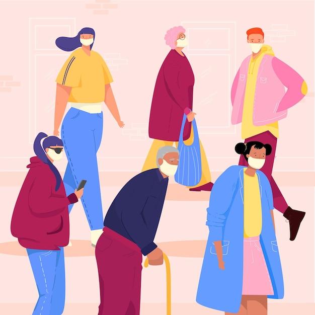 Älteste und junge leute im überfüllten raum tragen maske Kostenlosen Vektoren