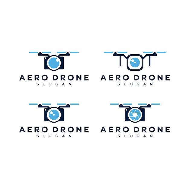 Aero drone logo set Premium Vektoren