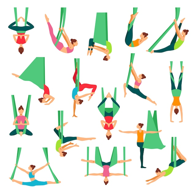 Aero yoga dekorative icons set Kostenlosen Vektoren